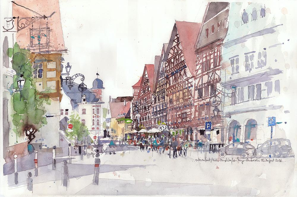 03_aquarell_ochsenfurt_hauptstrasse