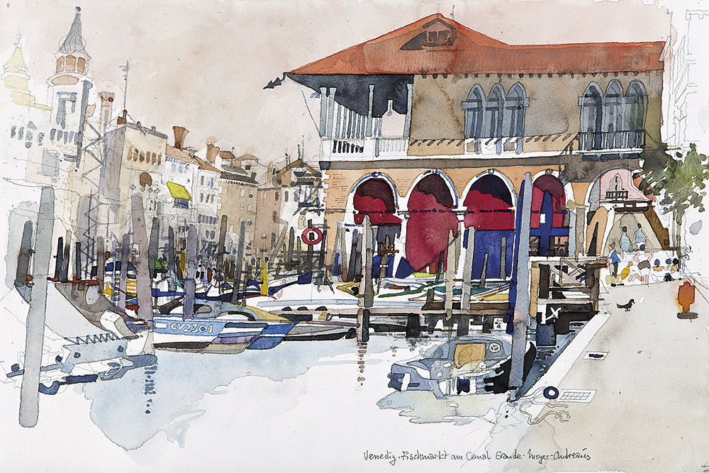 aquarell-stadt-venedig-fischmarkt